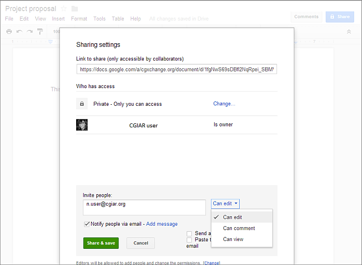 Sharing documents with collaborators - Moving from Google Apps to